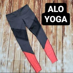 Alo Yoga Gray Black Orange Mesh Leggings Small